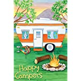 Happy Campers Summer Garden Flag Camping Adventure CampFire Double Sided 12