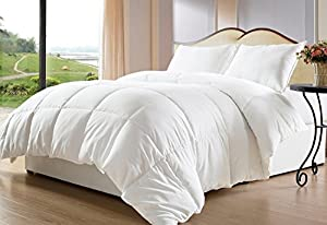 Natural Comfort White Down Alternative Comforter with Embossed Microfiber Cover, Medium Weight Filled,Twin