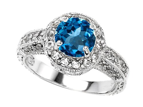 Original Star K(tm) Genuine 7mm Round Blue Topaz Engagement Ring in .925 Sterling Silver Size 6