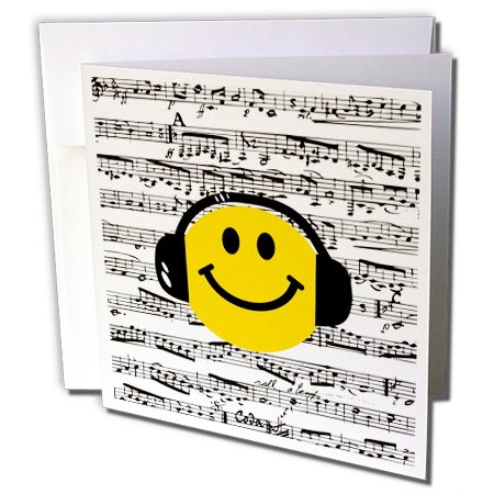 Gc_112820_1 Inspirationzstore Smiley Face Collection - Yellow Smiley Face Listening To Music With Headphones - Musical Note Sheet - Happy Dj - Deejay - Greeting Cards-6 Greeting Cards With Envelopes