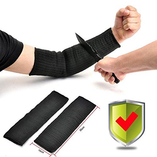 Yosoo Kevlar Sleeve Armschutz Unterarmschütze Anti-Schnitt Brennen Resistent Arm Sleeve - 1 Paar - Schwarz