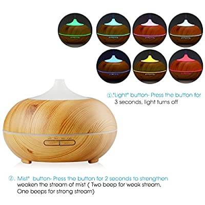 InnoGear Aromatherapy Essential Oil Diffuser Wood Grain Aroma Diffusers Cool Mist Humidmifier with Timer Adjustable Mist 7 Color Changing Night Lights Waterless Auto Shut-off