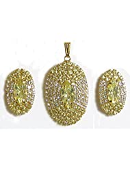 Yellow And White Stone Studded Oval Shaped Pendant And Earrings - Stone And Metal