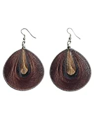 DollsofIndia Dark And Light Brown With Black Thread Earrings - Metal And Thread - Brown