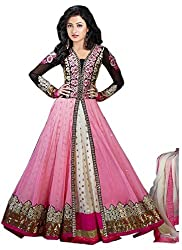 Mr. Brand Creation Women's Net Anarkali Unstitched Dress Material(RHSP1001)_Pink