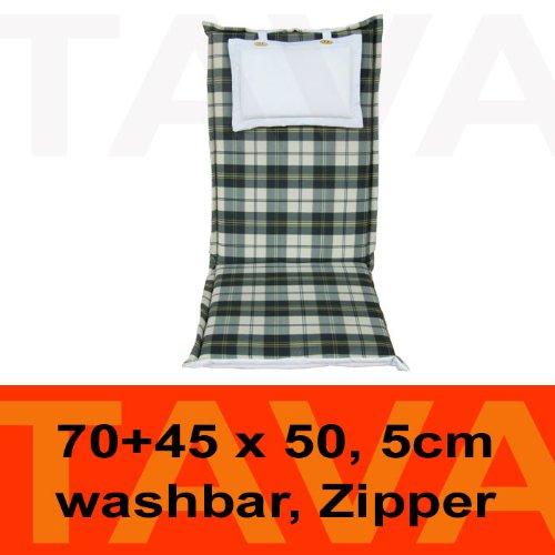 MEBELINO AHZK – Sitzauflage für Hochlehner Gartenstühle mit Befestigungsbänder, wasserabweisend, mit Zipper, 95 (50 + 45)x70 cm, 5 cm dick, grün kariert kaufen