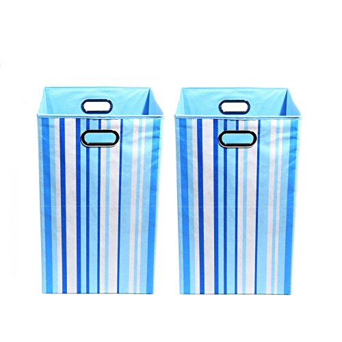 Modern Littles Organization Bundle-2 Laundry Bins, Sky Stripes