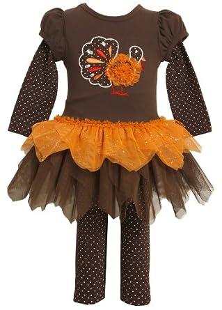 Bonnie Jean Little Girls' Turkey Applique Tutu Legging Set, Brown, 2T