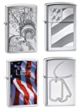 Zippo Lighter Set of Four - Something Patriotic, Old Glory, Made in USA and Military Dog Tags Logo