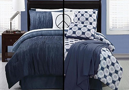 Logan Bed In A Bag Super Set- Blue/ White -Twin front-927793