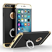 iPhone 6 Plus/6s Plus 5.5 Electroplating Loop Grip Case-Aurora Black 3 Pieces Sleek Full Body Case for iPhone 6 Plus/6s Plus [Top+Body+Bottom] with 360 Degree Ring Stand[Convenient+Useful+Stylish]