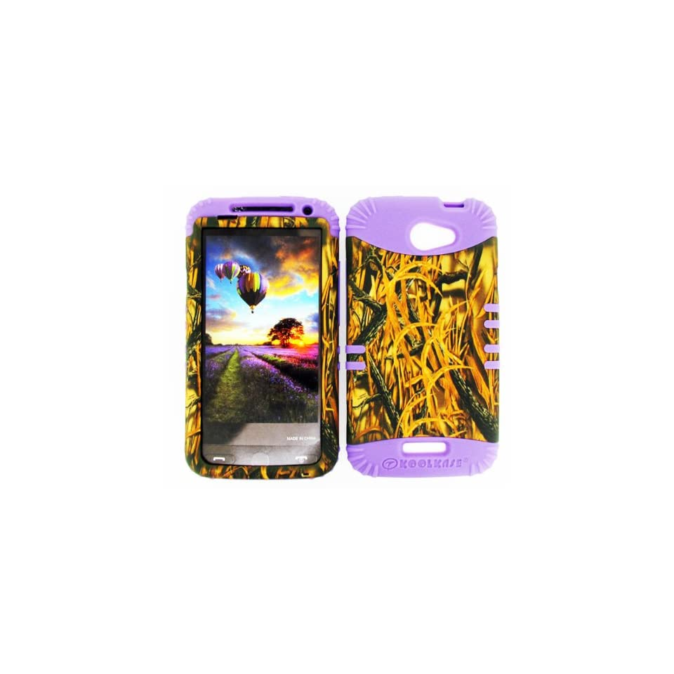For Htc One X S720e Camo Shedder Grass Heavy Duty Case + Light Purple Rubber Skin Accessories Cell Phones & Accessories