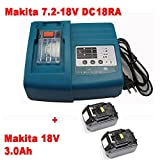 Charger & 2x Batteries for Makita BL1830 DC18RA DC18SC [charger 7.2 V-18V Li-Ion with Makita BL1830 18 V 3,0 Ah Li-ion]