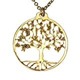 Delicate Tree of Life Gold-dipped Pendant Necklace on 18