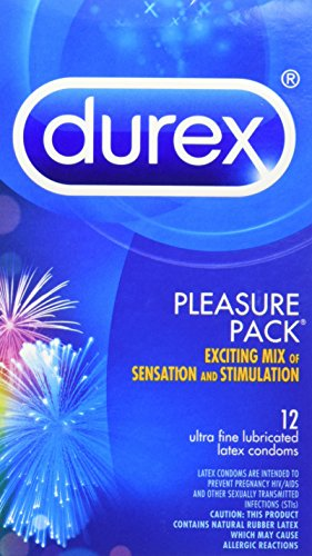 Durex Pleasure Pack, Assorted Premium Lubricated Condoms, 12 Count