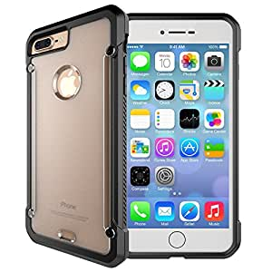 iPhone 7 Plus, Hybrid [Shockproof] Hard Plastic Clear Back Plate Case and Soft TPU Gel Bumper for iPhone 7 Plus 5.5 inch (Black - Iphone 7 Plus)