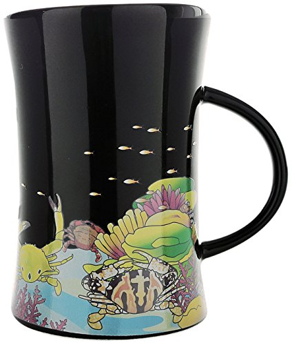 Cocera Formosa Treasure SHU-SWA040 Color Changing Porcelain Cup with Decal of Underwater Life and Wanli Crabs, Glossy Black