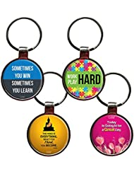 Combo For Great Life Set Of 4 Quote Metal Key Chains By QuoteSutra