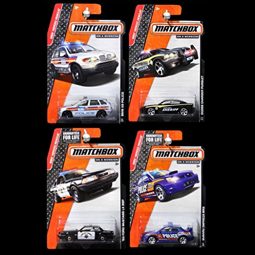 Matchbox BMW X5 Police, Dodge Charger Pursuit Sheriff, '93 Ford Mustang LX SSP Hiway Patrol, Subaru Impreza WRX Police - Lot of 4! 1:64 Scale Collectible Die Cast Metal Toy Car Models (Matchbox Dodge Charger compare prices)