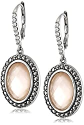 "Judith Jack ""Mirage"" Sterling Silver Crystal Marcasite Pink Abalone Drop Earrings"