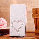 Locaa(TM) For HTC One M8 (HTC M8) 3D Bling Cases Deluxe Luxury Crystal Pearl Diamond Rhinestone eye-catching Beautiful Leather Retro Support bumper Cover Card Holder Wallet Case - [General series] loving heart