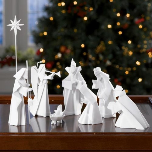 One hundred 80 degrees porcelain 9 piece nativity set home for 180 degrees christmas decoration