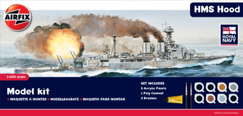 Airfix A50071 1:600 Scale Royal Navy HMS Hood Model Ship Gift Set with Paints, Glue and Brushes