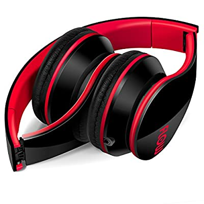 Sentey® Headphone Headset Flow (BLACK/RED) Music Gaming Foldable for Kids or Adults Easy Storage with Detachable 3.5 Mm Audio Cable That Includes In-line Microphone and Controls Compatible with Apple Ipad Ipod or Iphone Mp3 Samsung Galaxy Smartphones Gre