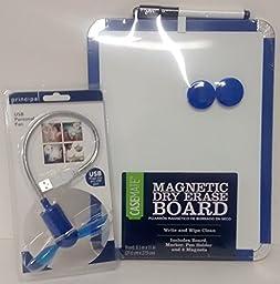 Casemate Magnetic Dry Erase Board Blue USB Fan Laptop Bundle Set