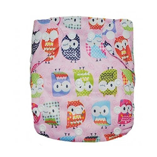 Baby Double Rows of Snaps Environmental Washable Adjustable Pocket Cloth Diaper (Pink Owls)