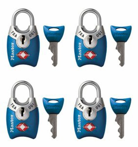 Master Lock 4689Q TSA Accepted Padlocks with Keys, 4-Pack