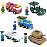 Set of Five, Conductor Carl Train Cars w/Removable Characters, Compatible with Thomas, Brio and Chuggington