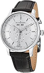 Alexander Statesman Chieftain Wrist Watch For Men - Black Leather Analog Swiss Watch - Silver White Dial Day Date Month Mens Chronograph Watch - Stainless Steel Mens Designer Watch A101-01