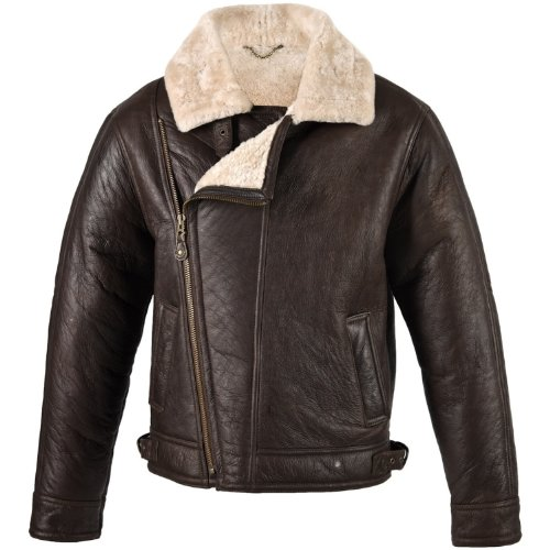 Mens Brown Leather Aviator Flying / Bomber Jacket with Sheepskin lining (Blenheim). Size 42