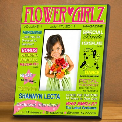 Baby Keepsake: Green Flower Girl Magazine Frame