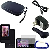 Gizmo Dorks Hard Shell Case (Black), Silicone Cover (Black) Charging Bundle with Carabiner Key Chain for the Creative Zen Touch 2 MP3 Player
