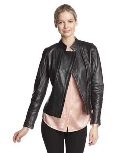 Ted Baker Women's Dariya Leather Jacket  [Black]