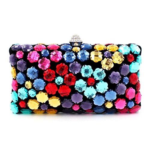 HMaking Women's Evening Bag Clutch Crystal Clutch Colorful Acrylic Crossbody Shoulder Purse