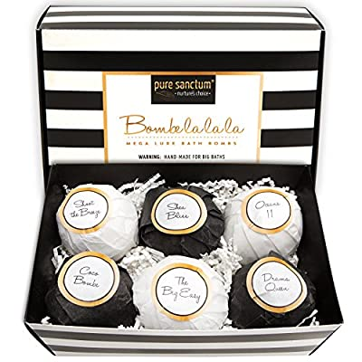 Best Cheap Deal for Bath Bombs Gift Set - Luxury Bath Fizzies - Lush Size 6oz Natural Bath Balls - US Made - Bombe la la la by pure sanctum - Free 2 Day Shipping Available