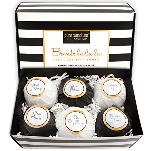 Bath Bombs Gift Set - Luxury Bath Fizzies - Lush Size 6oz Natural Bath Balls - US Made - Bombe la la la (Go Bliss Pack compare prices)