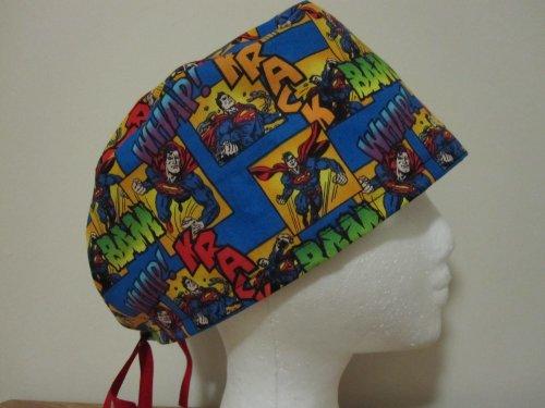 Mens Scrub Cap, Surgical Hat, Superman Comic