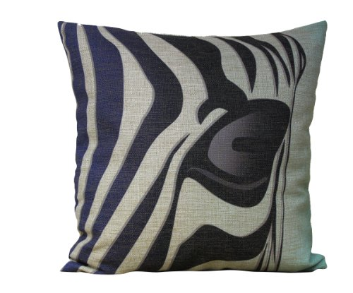 "Touch Appreciate Fabric Household Cotton And Linen Cushions Korean-Style Cushions Car Pillow Cover Zebra Stripe Pattern Design 18"" X 18"" front-185385"