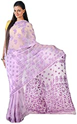 knool Women's Georgette Saree With Unstitched Blouse Piece (Violet) (CGSF02)