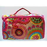 Hanging Travel Makeup Bag Cosmetic Bag With Silver Hook Flowers Pattern