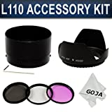 513ttih0X L. SL160  Essential Accessory Kit for NIKON Coolpix L110   Includes: Aluminum Adapter Tube + Filter Kit (UV, Polarizing, Fluorescent) + Tulip Flower Lens Hood + Premium Goja Microfiber Cleaning Cloth