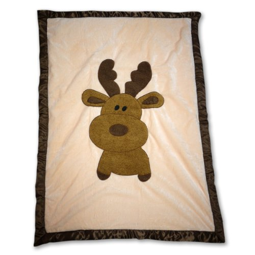 The Babymio Collection Mellven the Moose Blanket, Ivory/Brown