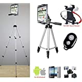 """ChargerCity® Exclusive 7 to 12 inch Screen Size Tablet TRIPOD Video Camera Selfie Photo Booth Recording Stand Mount Bundle includes 52"""" TRIPOD (SPK 5200D) , 360° Vibration Free Swivel Joint & Universal Tablet Holder for Apple iPad Air Pro MINI Nexus HD HDX Samsung Galaxy Tab Note LG G Pad 7 8 9 10 12 tablets **Includes a Free Bluetooth Shutter Remote & Manufacture Direct Replacement Warranty**"""