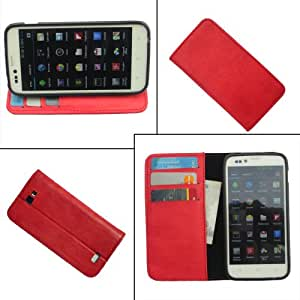 i-KitPit PU Leather Wallet Flip Case For HTC Windows Phone 8X (RED)
