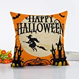 Fheaven Halloween Sofa Bed Home Decor All Hallows' Eve Gift Present Linen Cushion Covers Pillow Cases (Multicolor D)