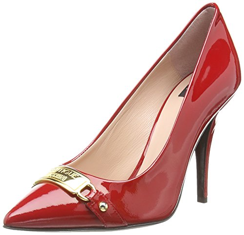 Moschino Patent Plate Trim Court,  Rosso Rosso (Red) 38.5